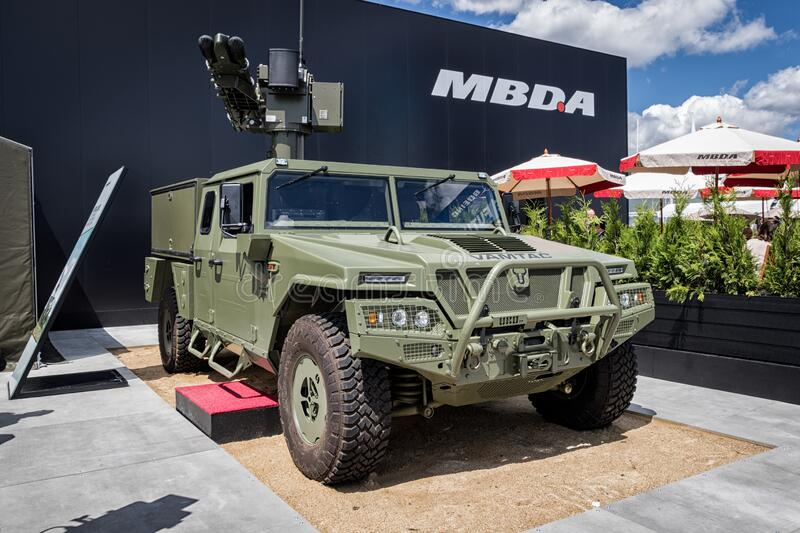 LE BOURGET PARIS - JUN 21, 2019: Uru Vamtac military vehicle with  MBDA missile system on display at the Paris Air Show royalty free stock photography