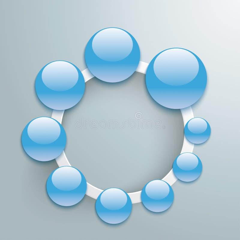 Le bouton bleu laisse tomber Ring Infographic blanc PiAd illustration libre de droits