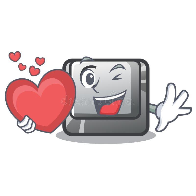 Le bouton C de coeur étant isolé dans la bande dessinée illustration libre de droits