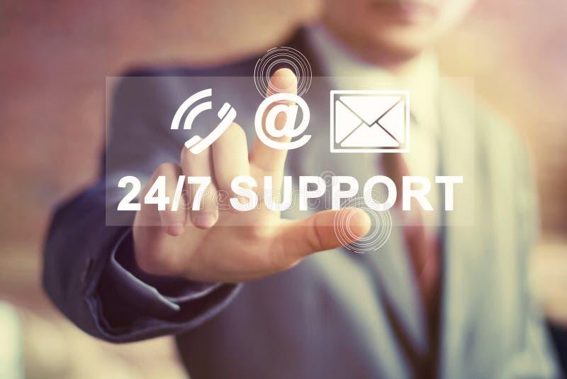 Le bouton d'affaires 24 heures soutiennent le signe de courrier de Web d'icône photographie stock libre de droits