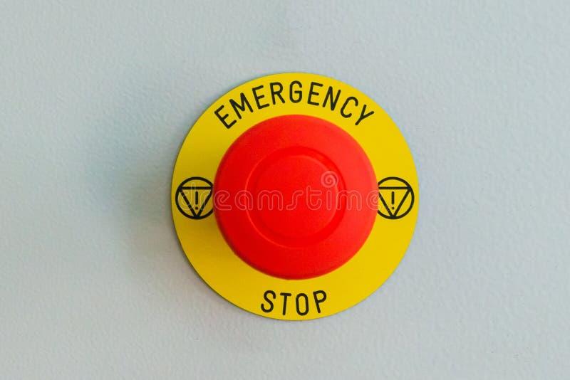 Le bouton d'arrêt d'urgence, prévention des catastrophes, aide obtiennent l'aide images libres de droits