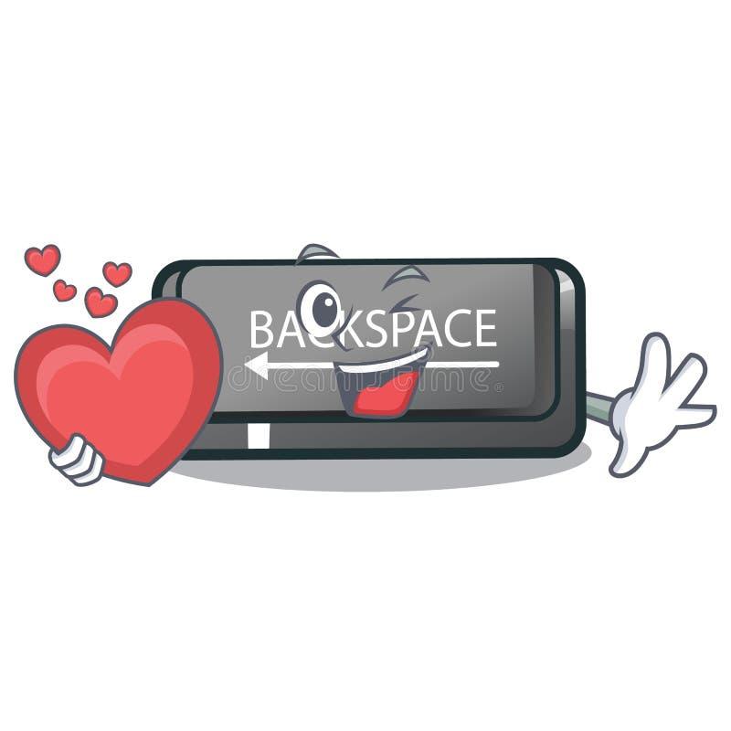 Le bouton d'espacement arrière de coeur étant installé sur le clavier de bande dessinée illustration libre de droits