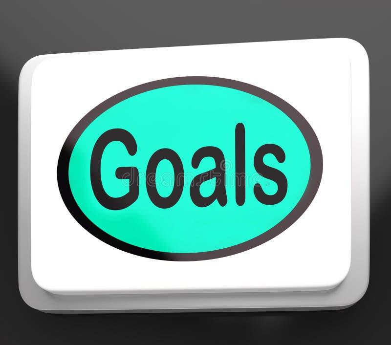 Le bouton de buts montre des objectifs ou des aspirations d'objectifs illustration libre de droits