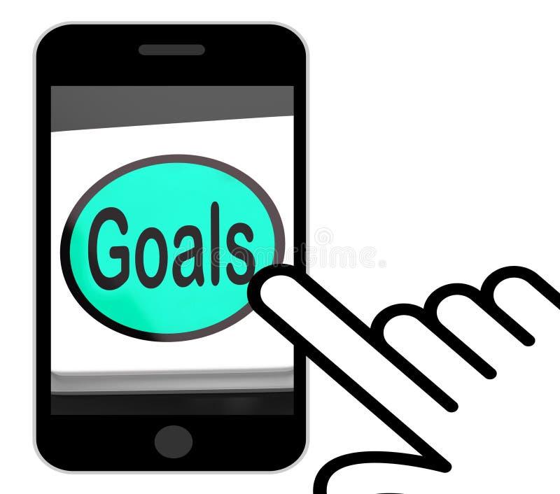 Le bouton de buts montre des objectifs ou des aspirations d'objectifs illustration de vecteur
