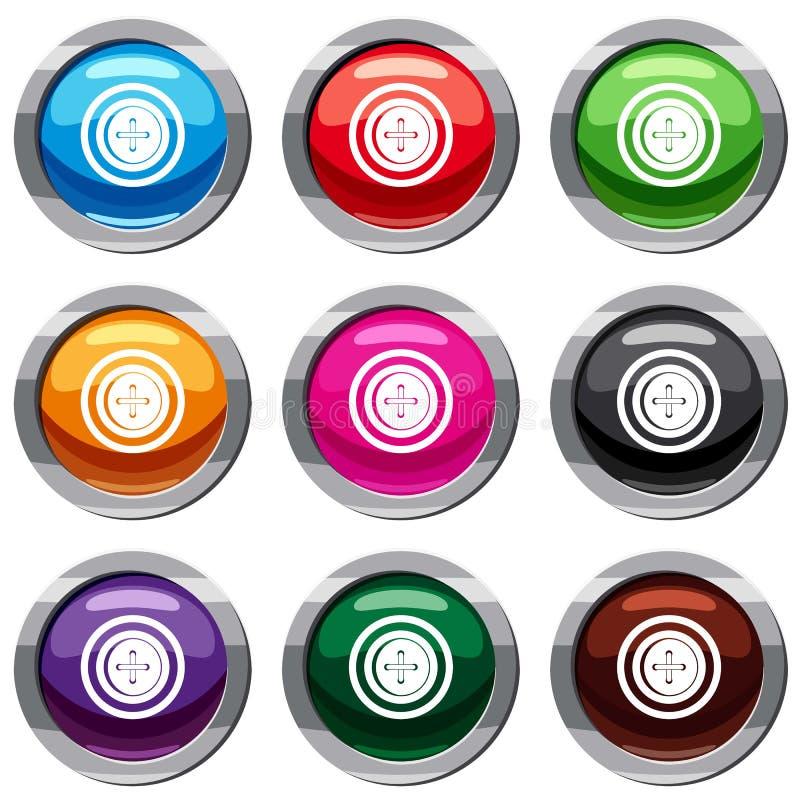 Le bouton de couture avec un fil a placé la collection 9 illustration de vecteur