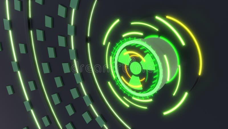 Le bouton de rayonnement avec des hologrammes s'allume, l'illustration 3d photographie stock libre de droits
