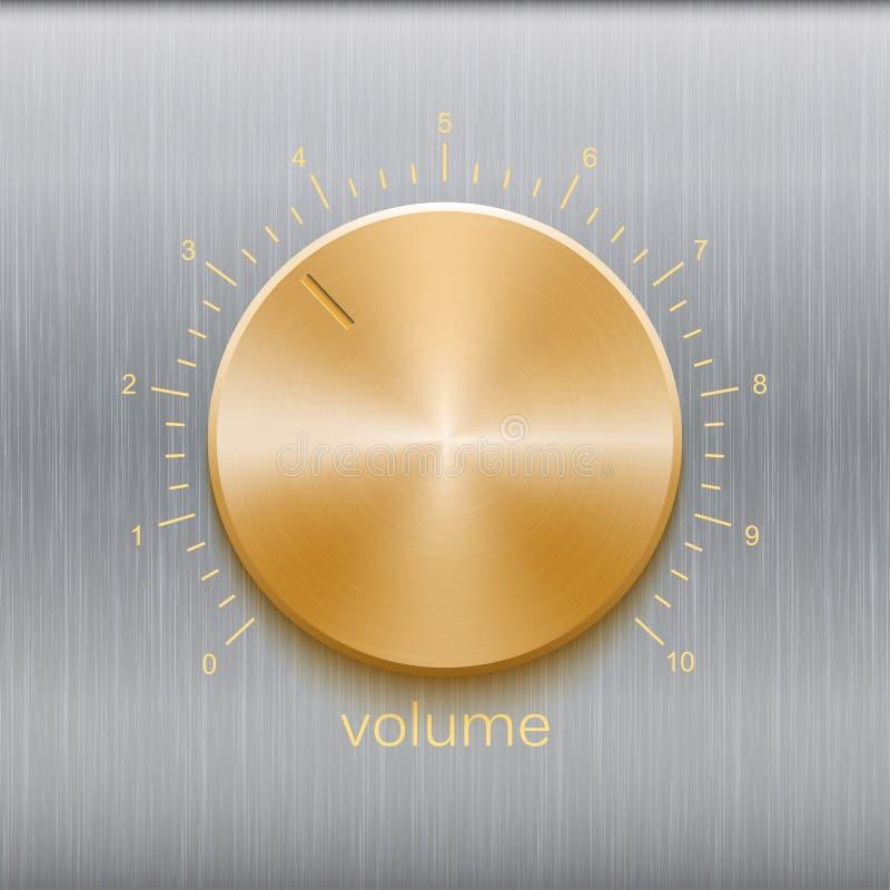 Le bouton de volume avec l'échelle balayée d'or de texture et de nombre d'isolement sur le métal donnent au fond une consistance  illustration stock