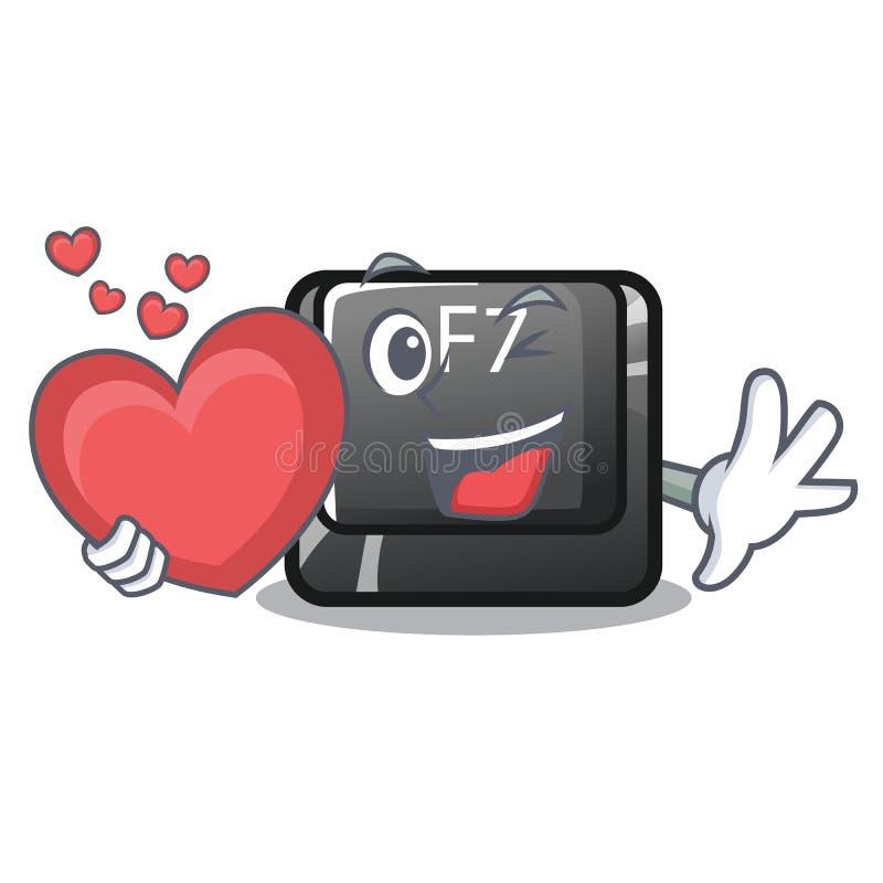 Le bouton du coeur F7 étant installé dans la bande dessinée d'ordinateur illustration libre de droits