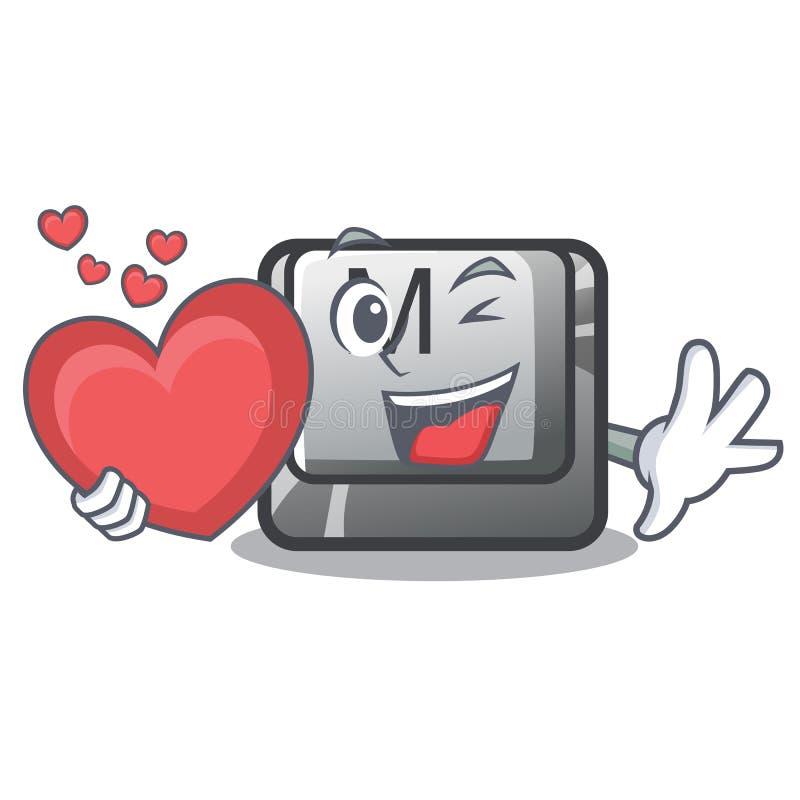 Le bouton du coeur M étant installé dans des bandes dessinées de jeu illustration stock