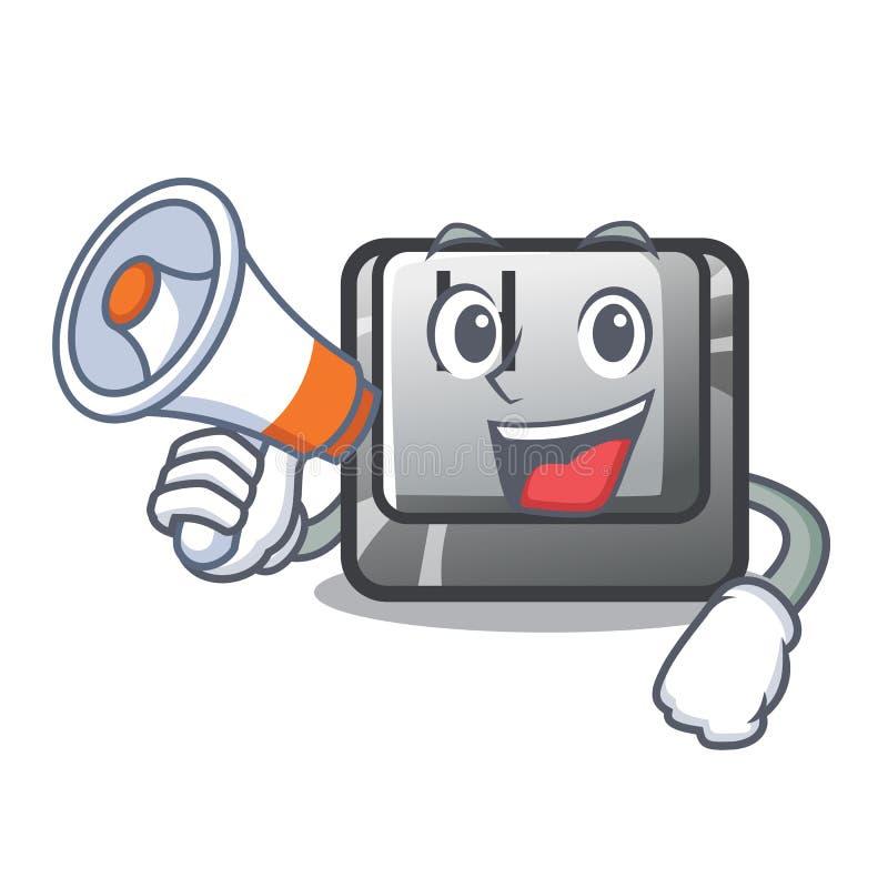 Le bouton du mégaphone H étant installé dans le jeu de bande dessinée illustration de vecteur
