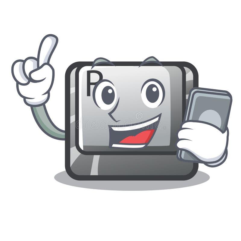 Le bouton du téléphone R étant installé sur le clavier de bande dessinée illustration de vecteur
