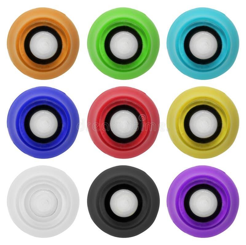Le bouton en caoutchouc réel a placé 4 | D'isolement photos libres de droits