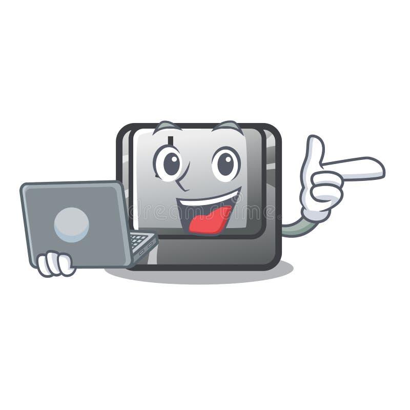 Le bouton J d'ordinateur portable étant installé sur l'ordinateur de bande dessinée illustration de vecteur