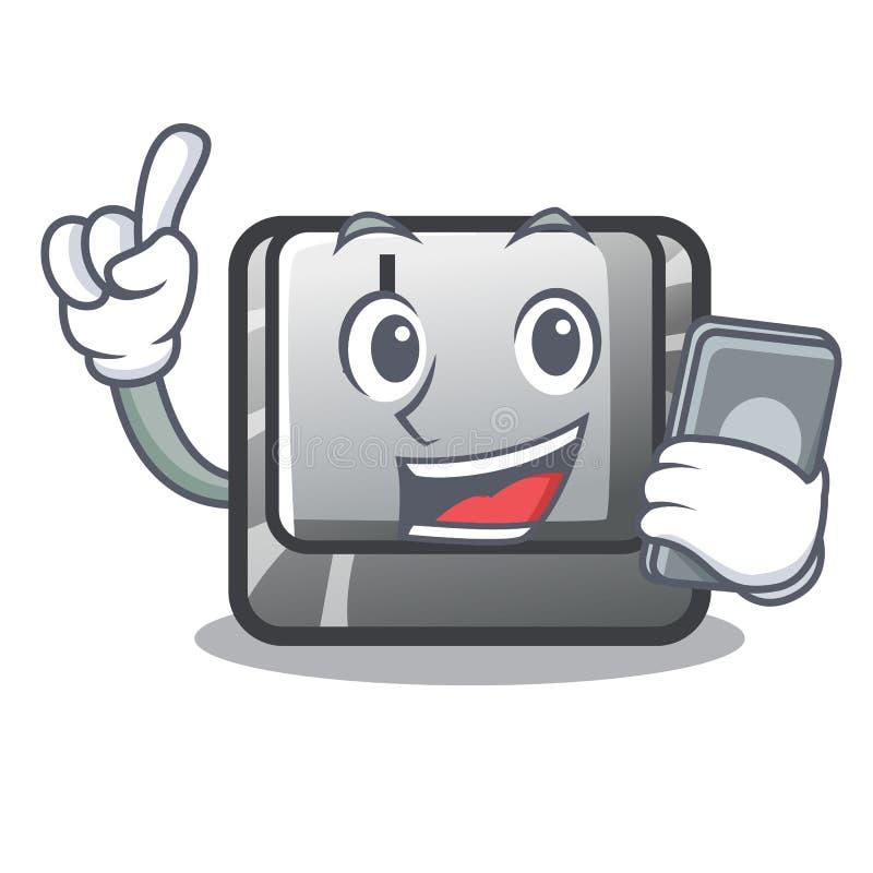 Le bouton J de téléphone étant installé sur l'ordinateur de bande dessinée illustration de vecteur