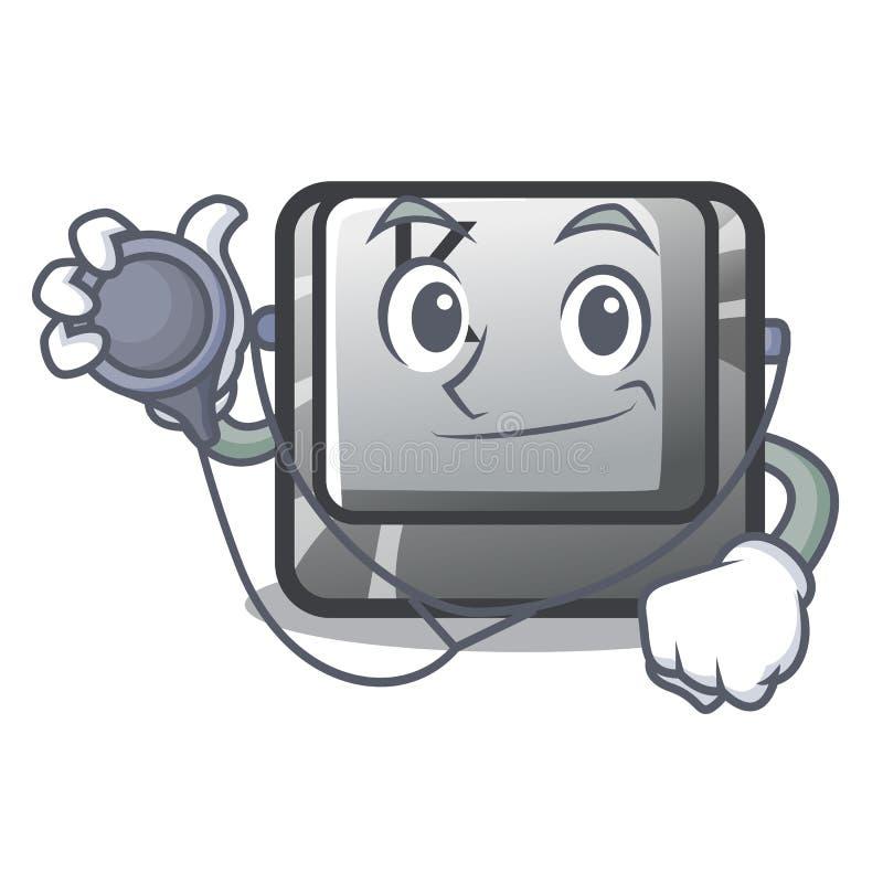 Le bouton K de docteur a isolé avec la mascotte illustration de vecteur