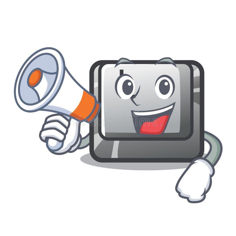 Le bouton L de mégaphone étant fixé au clavier de caractère illustration stock