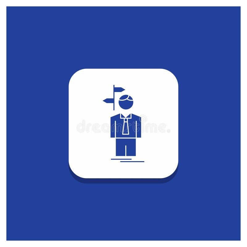 Le bouton rond bleu pour la flèche, choix, choisissent, décision, icône de Glyph de direction illustration libre de droits
