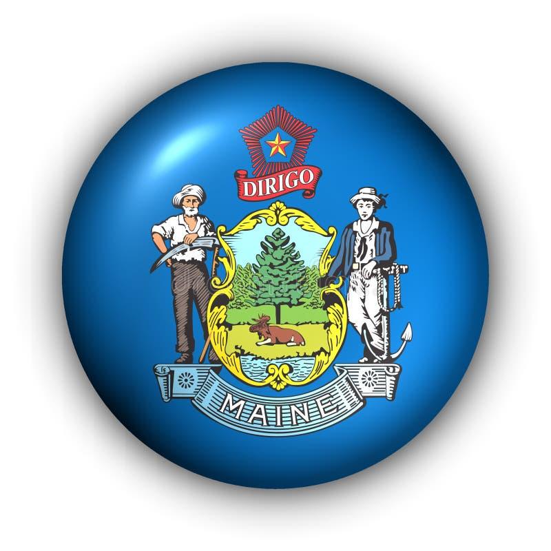 Le bouton rond Etats-Unis indiquent l'indicateur du Maine illustration stock