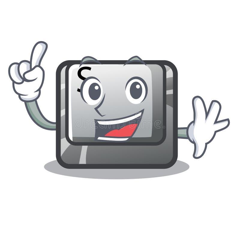 Le bouton S de doigt a isolé avec la mascotte illustration de vecteur