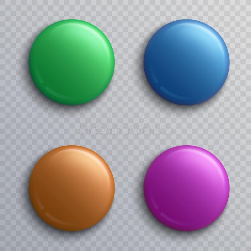 Le bouton vide coloré badges, ensemble de vecteur d'isolement par aimants ronds de goupille illustration de vecteur