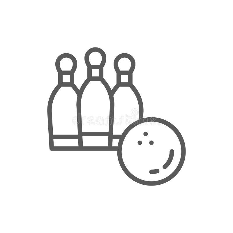 Le bowling, boule avec des quilles rayent l'icône illustration de vecteur