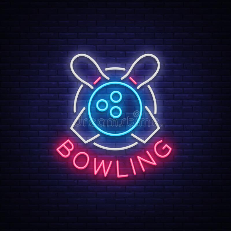 Le bowling est un enseigne au néon Emblème de symbole, logo au néon de style, bannière lumineuse de la publicité, panneau d'affic illustration de vecteur