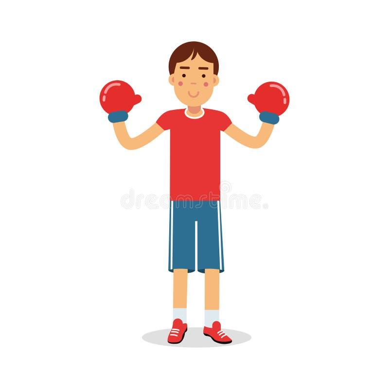 Le boxeur de l 39 adolescence de gar on actif dans des gants de boxe personnage de dessin anim - Dessin gant de boxe ...