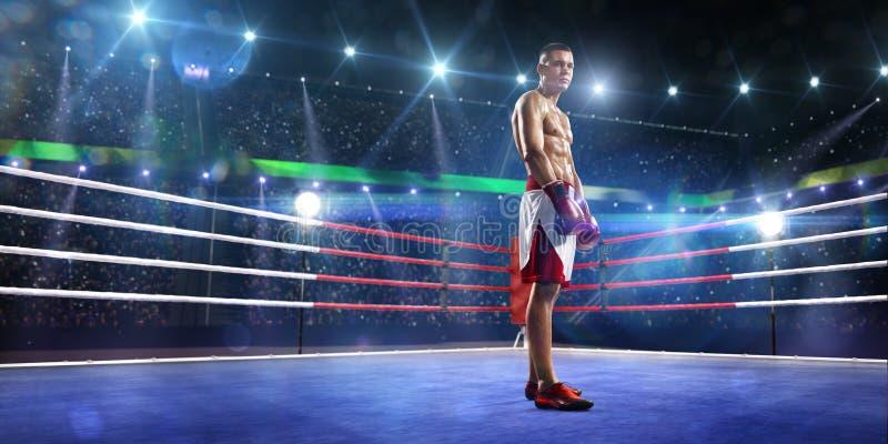Le boxeur de Professionl se tient sur l'anneau photo libre de droits