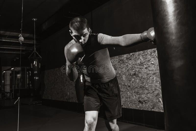 Le boxeur frappe un sac de vitesse dans le gymnase, formant le choc images libres de droits