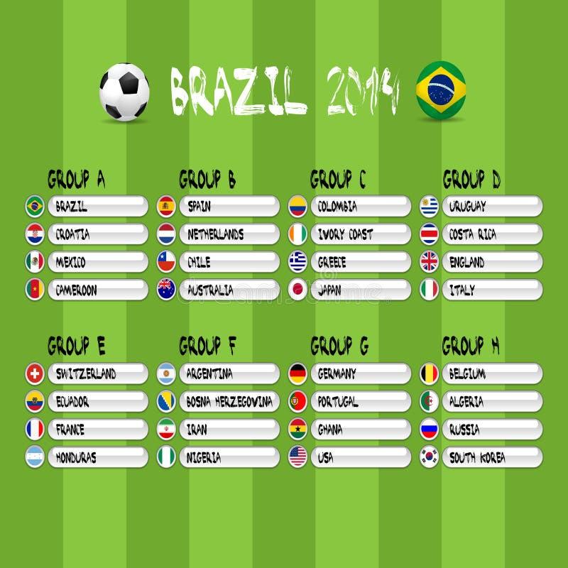 Le Brésil étapes de 2014 groupes, eps10 illustration, courrier du football illustration de vecteur