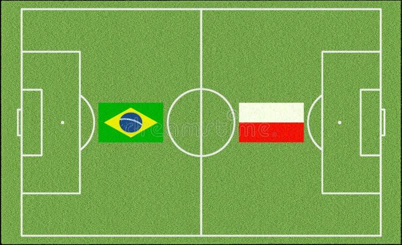 Le Brésil contre La Pologne dans le football illustration libre de droits