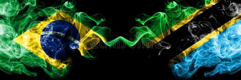 Le Brésil contre la Tanzanie, drapeaux tanzaniens de fumée placés côte à côte Drapeaux soyeux colorés épais de fumée de  illustration libre de droits