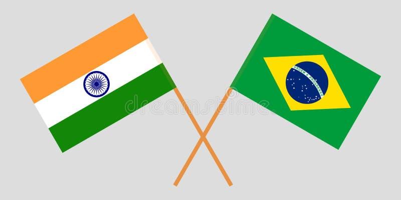 Le Brésil et l'Inde Les drapeaux brésiliens et indiens Proportion officielle Couleurs correctes Vecteur illustration stock