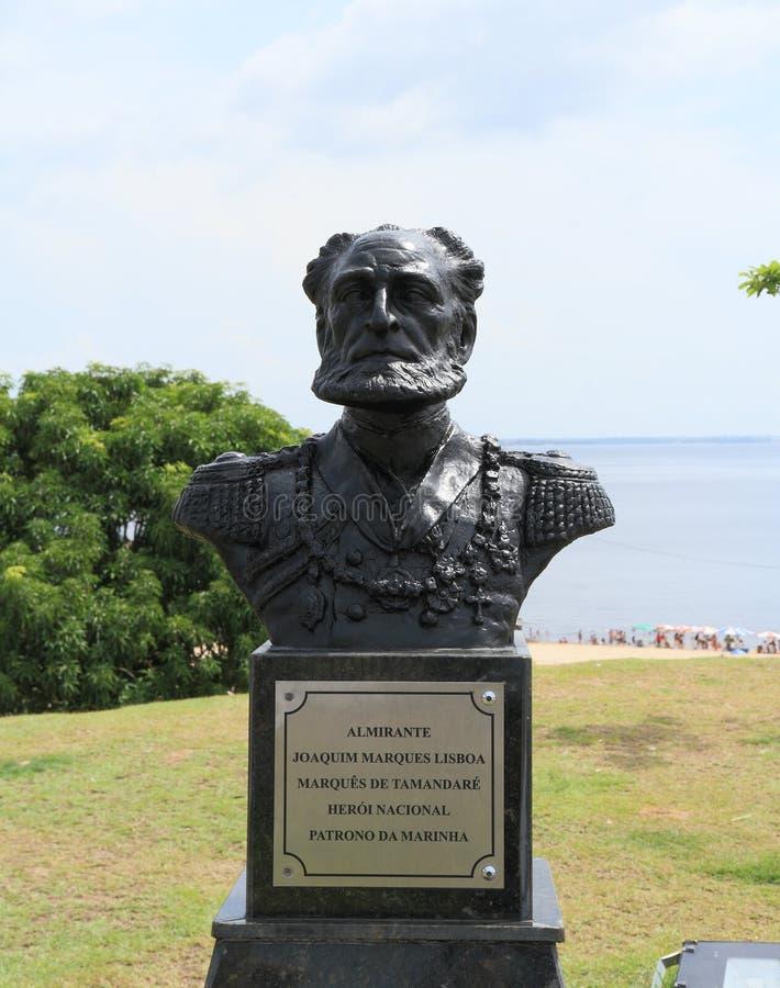 Le Brésil, Manaus/Ponta Negra : Sculpture d'amiral Joaquim Lisboa photo libre de droits