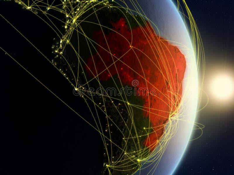 Le Brésil sur la terre reliée au réseau de planète photos libres de droits