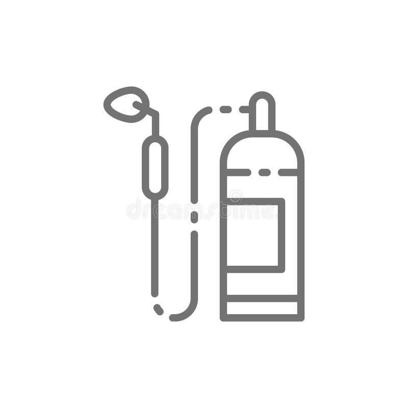 Le brûleur à gaz industriel, le chalumeau, dispositif pour le soudage à gaz fonctionne la ligne icône illustration de vecteur
