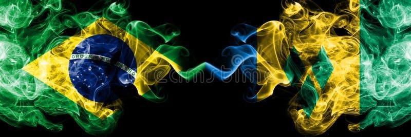 Le Br?sil contre des drapeaux de fum?e de Saint-Vincent-et-les-Grenadines plac?s c?te ? c?te Drapeaux soyeux color?s ?pais de fum illustration de vecteur