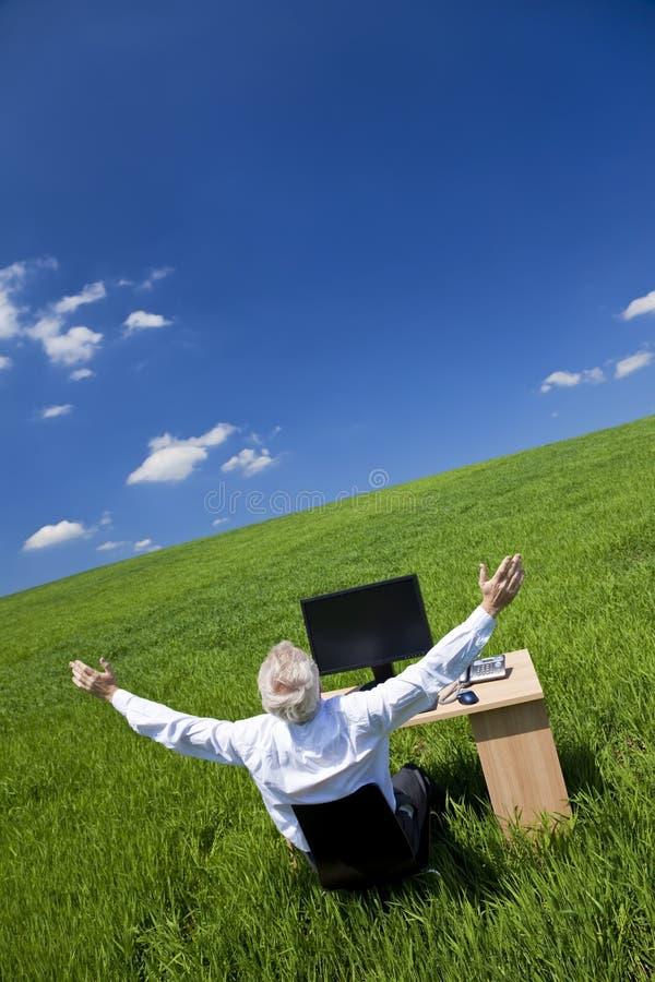 Le Braccia Dell Uomo D Affari Si Sono Alzate Allo Scrittorio Nel Campo Verde Fotografia Stock