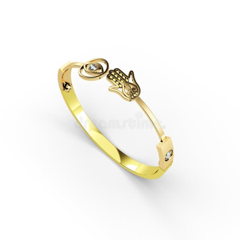Le bracelet d'or avec l'illustration du symbole 3d de hamsa rendent sur le fond blanc illustration de vecteur