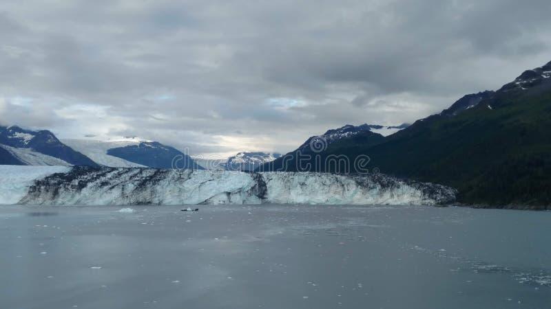 Le bras de l'Alaska Harvard de fjord d'université de glacier de Harvard avec la neige a couvert les crêtes de montagne et l'océan images stock