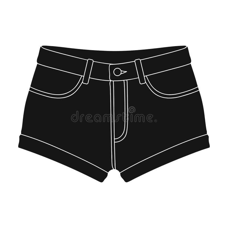 Le brevi donne porpora s mette con un elastico blu Shorts per gli sport di estate sulla via Abbigliamento delle donne singolo royalty illustrazione gratis