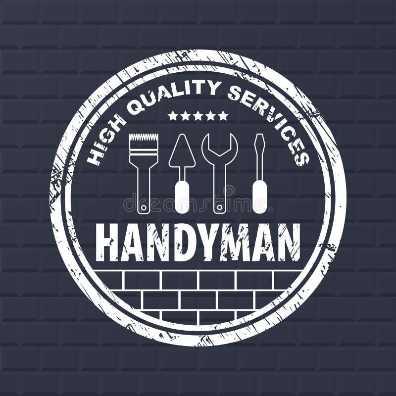 Le bricoleur professionnel entretient le logo Services de bricoleur de timbre sur le fond foncé de briques Timbre avec les bords  illustration de vecteur