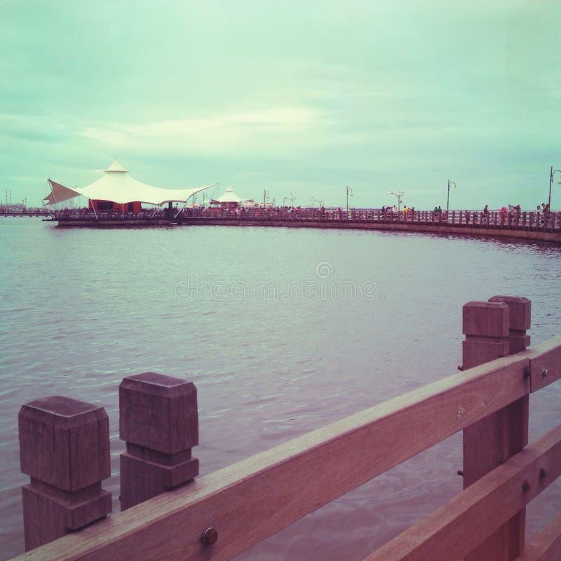 Le Bridge at Ancol Beach. Fun at Ancol Beach, Jakarta royalty free stock photography