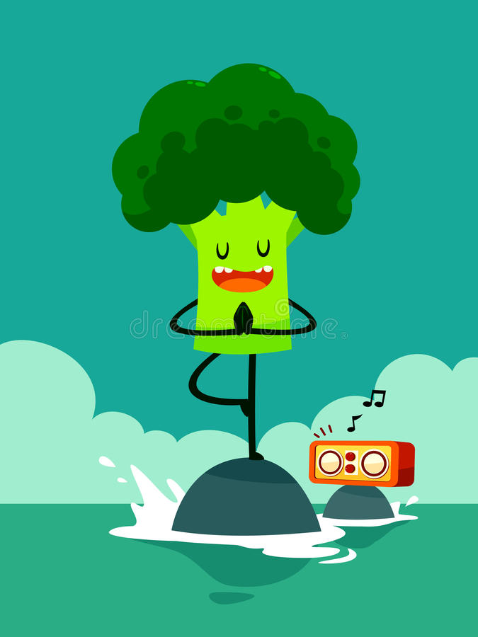 Le brocoli font la pose d'arbre de yoga illustration stock