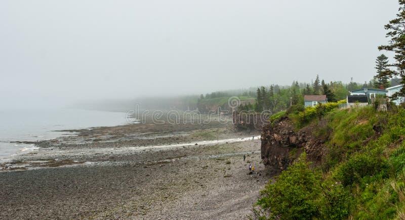 Le brouillard de littoral de Nova Scotia de printemps en juin, les gens à la base de la falaise explorant le caillou échoue image stock