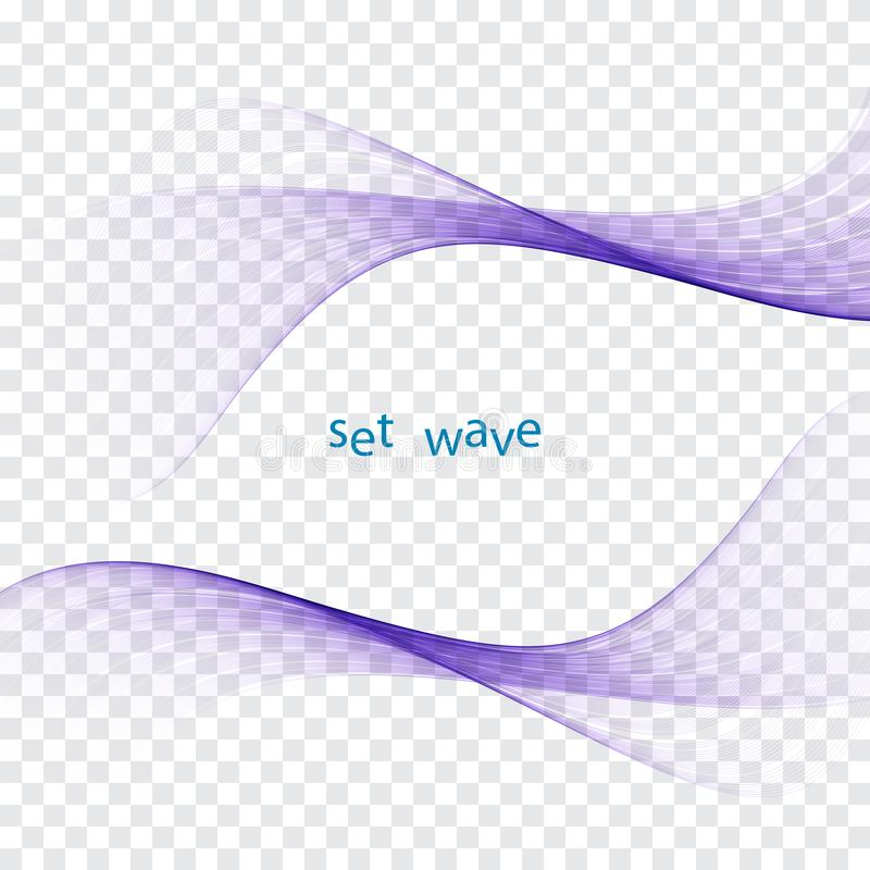 Le bruissement coloré lumineux frais futuriste onduleux raye la collection Vagues transparentes d'écoulement de fumée élégante gr illustration stock