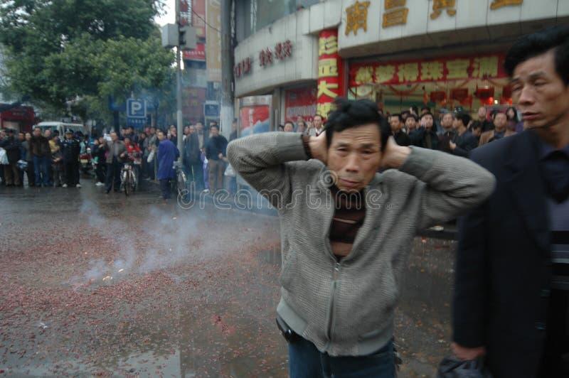 Le bruit fort du festival de printemps de pétards-Le à Nan-Tchang photographie stock libre de droits