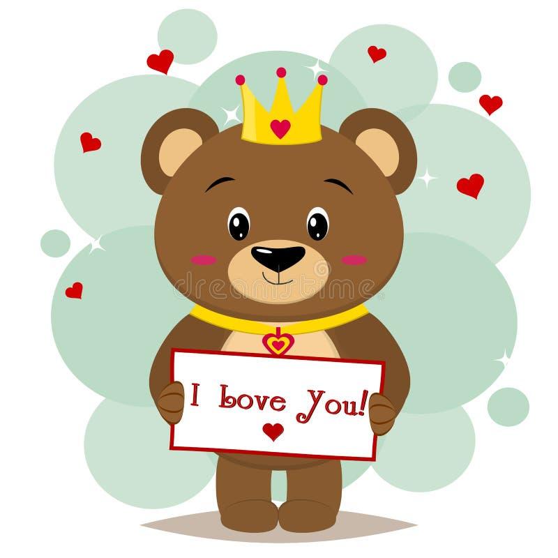 Le brun d'ours dans la couronne tient un comprimé avec le texte je t'aime dans le style des bandes dessinées illustration libre de droits