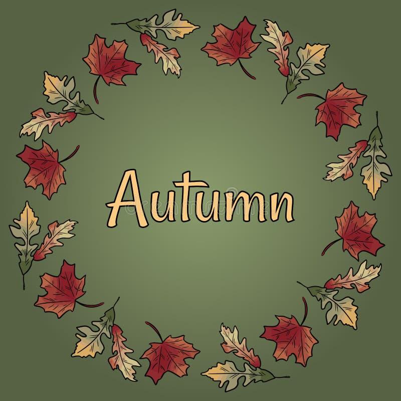 Le brunch de cercle de guirlande de chute d'automne laisse à feuillage le texte coloré rouge orange de vecteur illustration stock
