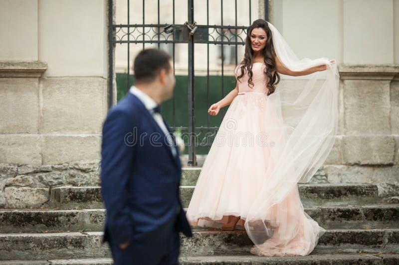 Le brunettbruden som går ner gammal trappa till den stiliga brudgummen royaltyfria bilder